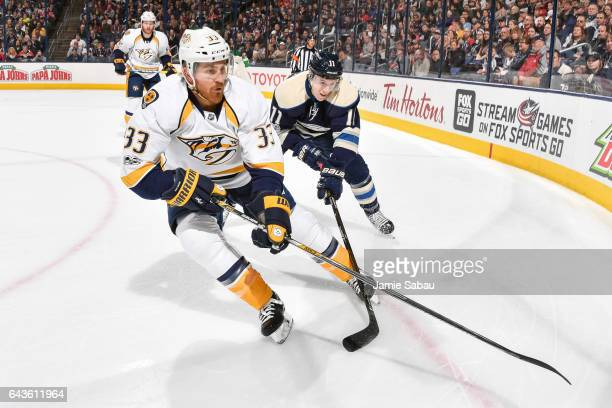 Colin Wilson of the Nashville Predators skates against the Columbus Blue Jackets on February 19 2017 at Nationwide Arena in Columbus Ohio