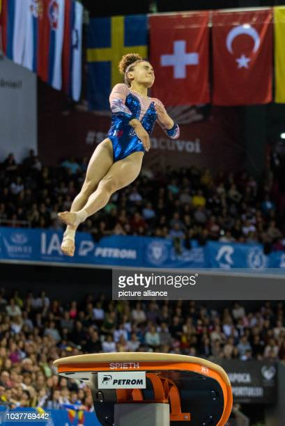 Coline Devillard performs on the vault during the Women's Apparatus Finals at the European Men's and Women's Artistic Gymnastics Championships in...