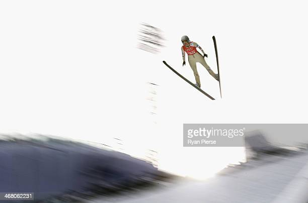 Coline Mattel of France jumps during the Ladies' Normal Hill Individual Ski Jumping training on day 2 of the Sochi 2014 Winter Olympics at RusSki...