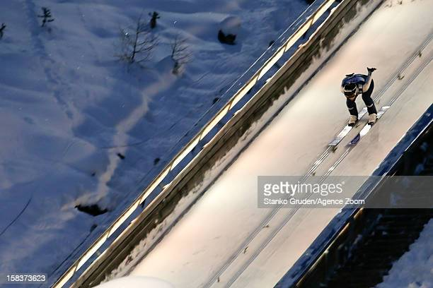 Coline Mattel of France takes 2nd place during the FIS Ski Jumping World Cup Women's HS98 December 14 2012 in Ramsau Austria