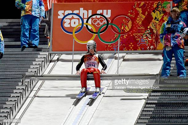 Coline Mattel of France wins the bronze medal during the Ski Jumping Women's Normal Hill at the RusSki Gorki Jumping Center on February 11 2014 in...