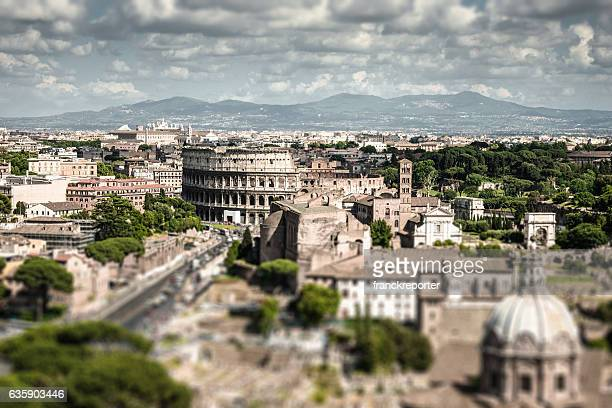 coliseum in rome aerial view - coliseum rome stock photos and pictures