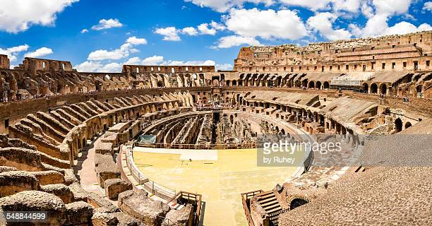 coliseum panorama - coliseum rome stock photos and pictures