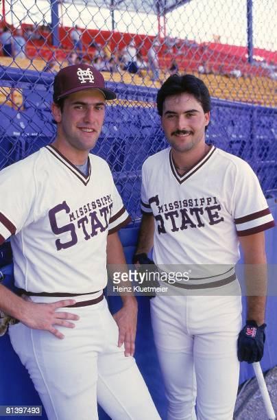 Coll, Baseball: World Series, Portrait of Mississippi State's Will Clark and Rafael Palmeiro , Omaha, NE 6/9/1985