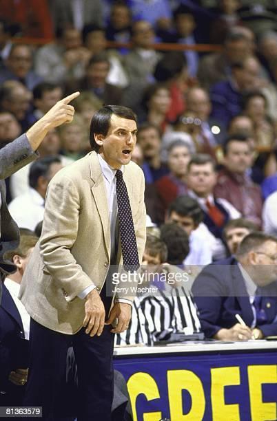 Coll Basketball ACC playoffs Duke coach Mike Krzyzewski during game vs Georgia Tech Greensboro NC 3/10/1984