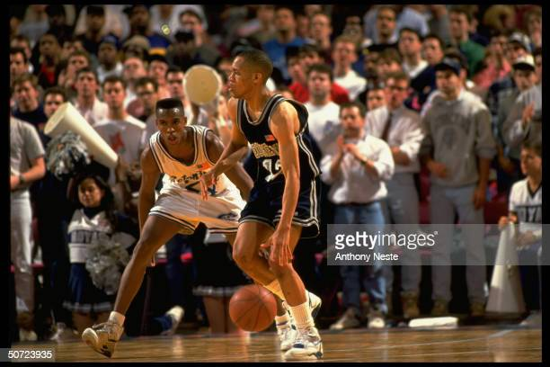 Big East Georgetown Charles Harrison in action vs Seton Hall Terry Dehere