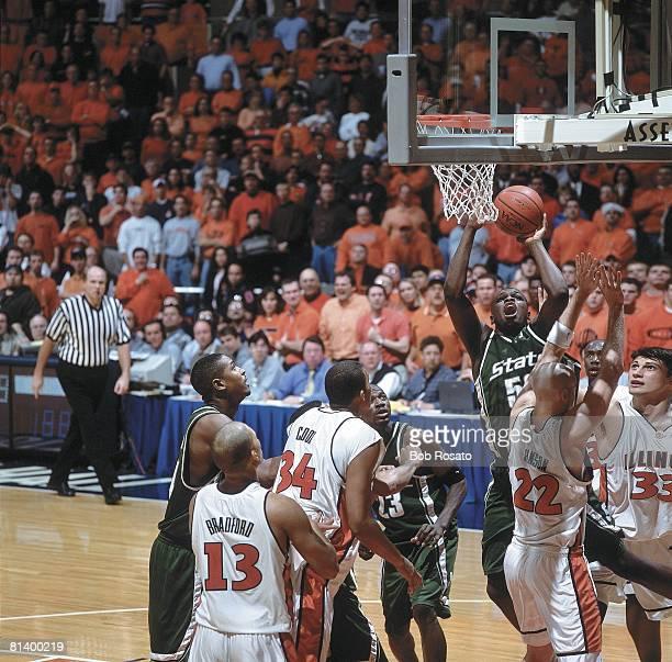 Coll Basketball Michigan State's Zach Randolph in action vs Illinois Champaign IL 2/6/2001
