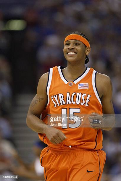 Coll Basketball NCAA finals Closeup of Syracuse's Carmelo Anthony during game vs Kansas New Orleans LA 4/7/2003