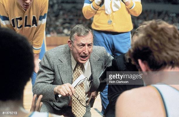 Coll Basketball NCAA finals Closeup of UCLA coach John Wooden during game vs Louisville Los Angeles CA 3/23/1972