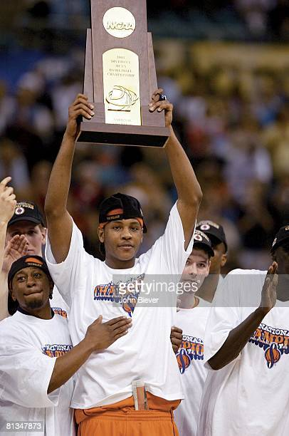 Coll Basketball NCAA finals Syracuse's Carmelo Anthony victorious with trophy after game vs Kansas New Orleans LA 4/7/2003