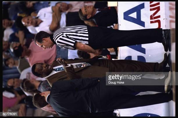 Midwest Regional. Portrait of Arkansas coach Nolan Richardson arguing w. Ref.