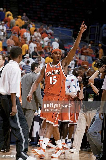 Coll Basketball NCAA playoffs Syracuse's Carmelo Anthony victorious after game vs Texas New Orleans LA 4/5/2003