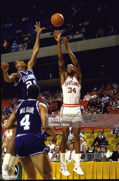 NCAA Tournament Maryland Len Bias in action shooting vs Villanova