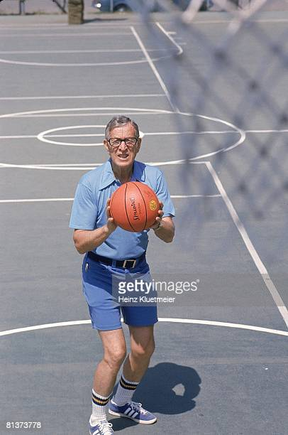Coll Basketball Portrait of former UCLA coach John Wooden in action at his basketball camp 1/1/1975