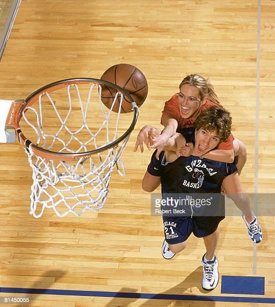 Coll Basketball Portrait of Gonzaga's Dan Dickau with fiancee Heather Nevenner Spokane WA 2/15/2002