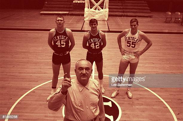 Coll Basketball Portrait of Kentucky coach Adolph Rupp with Cliff Berger Pat Riley and Thad Jaracz Lexington KY