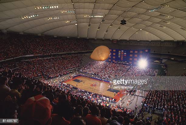 Coll Basketball View of Pittsburgh in action vs Syracuse at stadium Carrier Dome Syracuse NY 3/6/1988