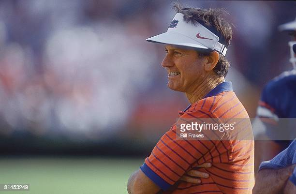 Coll Football Closeup of Florida coach Steve Spurrier on sidelines during game vs Vanderbilt Gainesville FL 11/3/2001