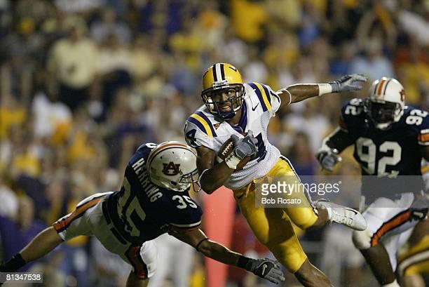 Coll Football Louisiana State's Michael Clayton in action vs Auburn's Will Herring Baton Rouge LA