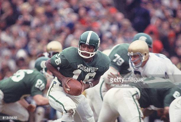 Coll Football Michigan State QB Jimmy Raye in action vs Notre Dame East Lansing MI