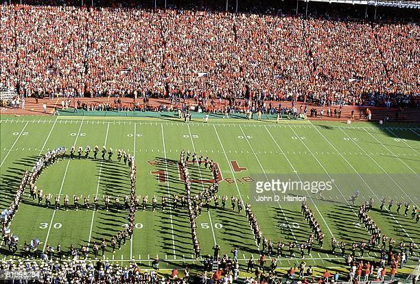 Coll, Football: Ohio State marching band spelling out, script OHIO at halftime during Michigan, View of Ohio Stadium, Columbus, OH