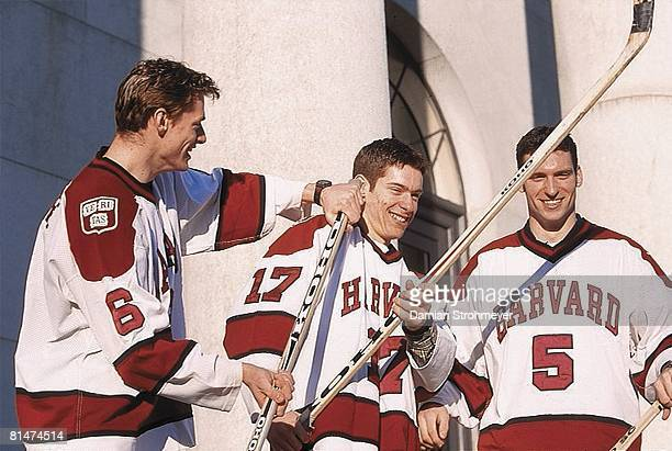 Coll Hockey Feature Portrait of Harvard brothers Marc Moore Dominic Moore and Steve Moore Cambridge MA 3/1/2000