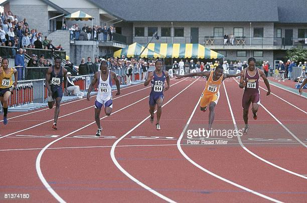 Coll Track NCAA championships Tennessee's Justin Gatlin in action winning 100M finals Eugene OR 6/2/2001