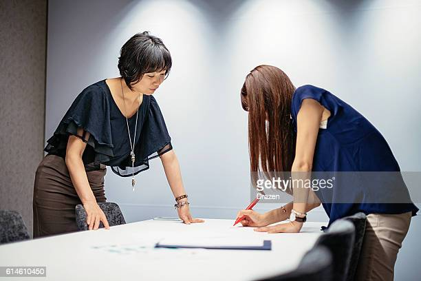 Collaboration in Japanese female business team