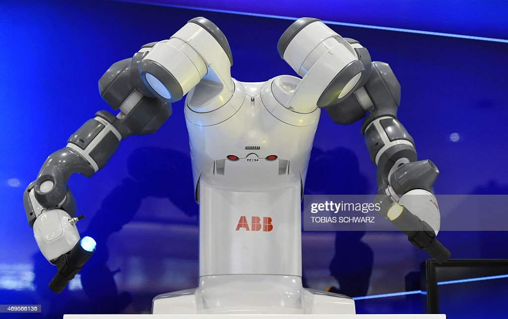 Collaborative dual-arm robot YuMi is pictured at the Swiss automation group ABB booth at the Hannover Messe industrial trade fair in Hanover, central Germany on April 13, 2015. India is the partner country of this year's trade fair running until April 17, 2015.