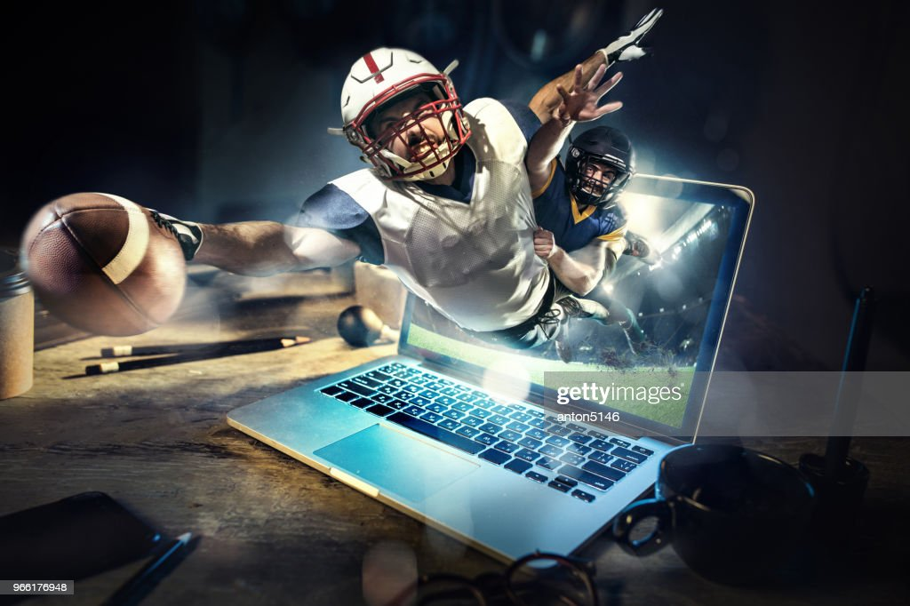 Collage about american football players in dynamic action with ball in a professional sport game. He playing on the laptop : Stock Photo