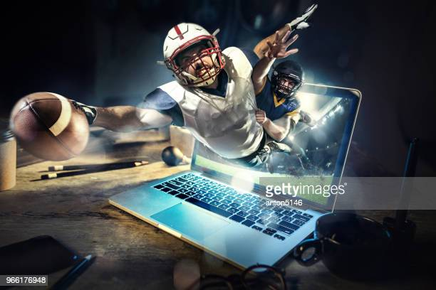collage about american football players in dynamic action with ball in a professional sport game. he playing on the laptop - match sportivo foto e immagini stock