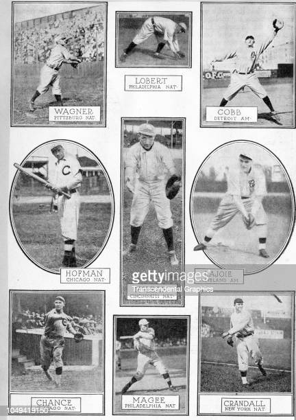 Collage for Leslie's Magazine features a group of American baseball players, New York, New York, 1910. Pictured are, top row from left, Honus Wagner,...