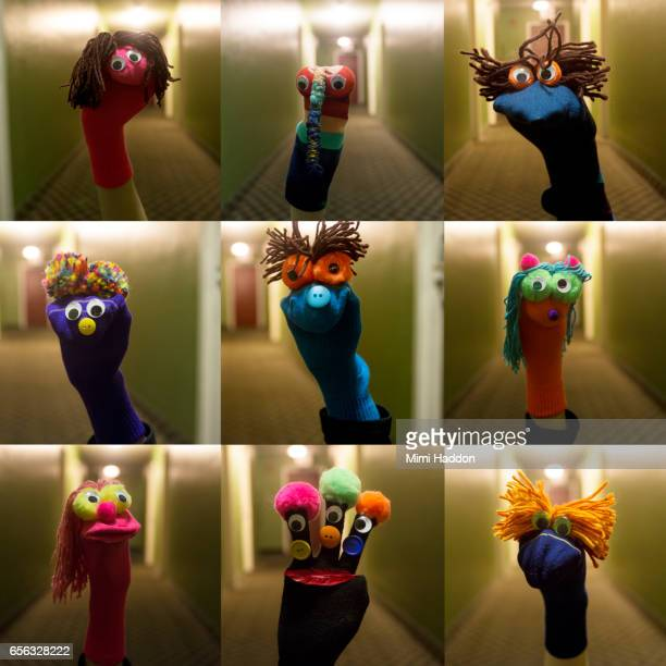 collage of 9 sock puppets in long hallway - puppet stock pictures, royalty-free photos & images