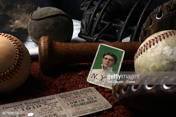 A collage of Antique Vintage Baseball Memorabilia and Collectables including baseballs wooden baseball bats hat catchers mask used ticket stub...