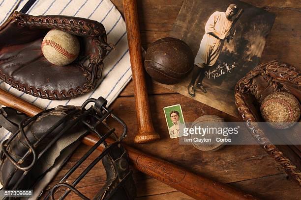 A collage of Antique Vintage Baseball Memorabilia and Collectables including baseballs wooden baseball bats hat catchers mask baseball card signed...