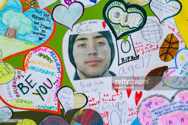 Collage of art honoring the 17 victims killed at Marjory Stoneman Douglas High School was on display at Pine Trails Park during the two-year...