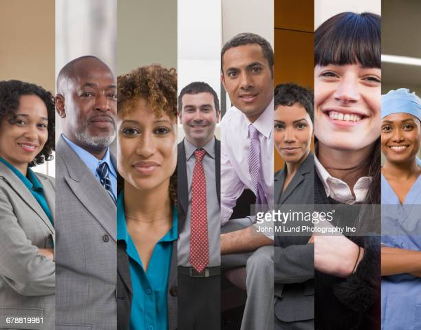 collage of business people and surgeon - multiculturalism stock pictures, royalty-free photos & images