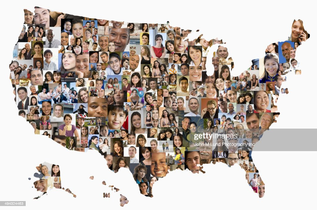 collage of business people in shape of united states map stock photo