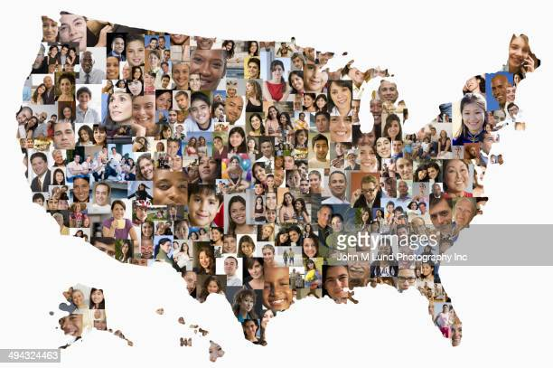collage of business people in shape of united states map - verenigde staten stockfoto's en -beelden