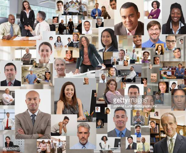 collage of business people smiling - john lund stock pictures, royalty-free photos & images