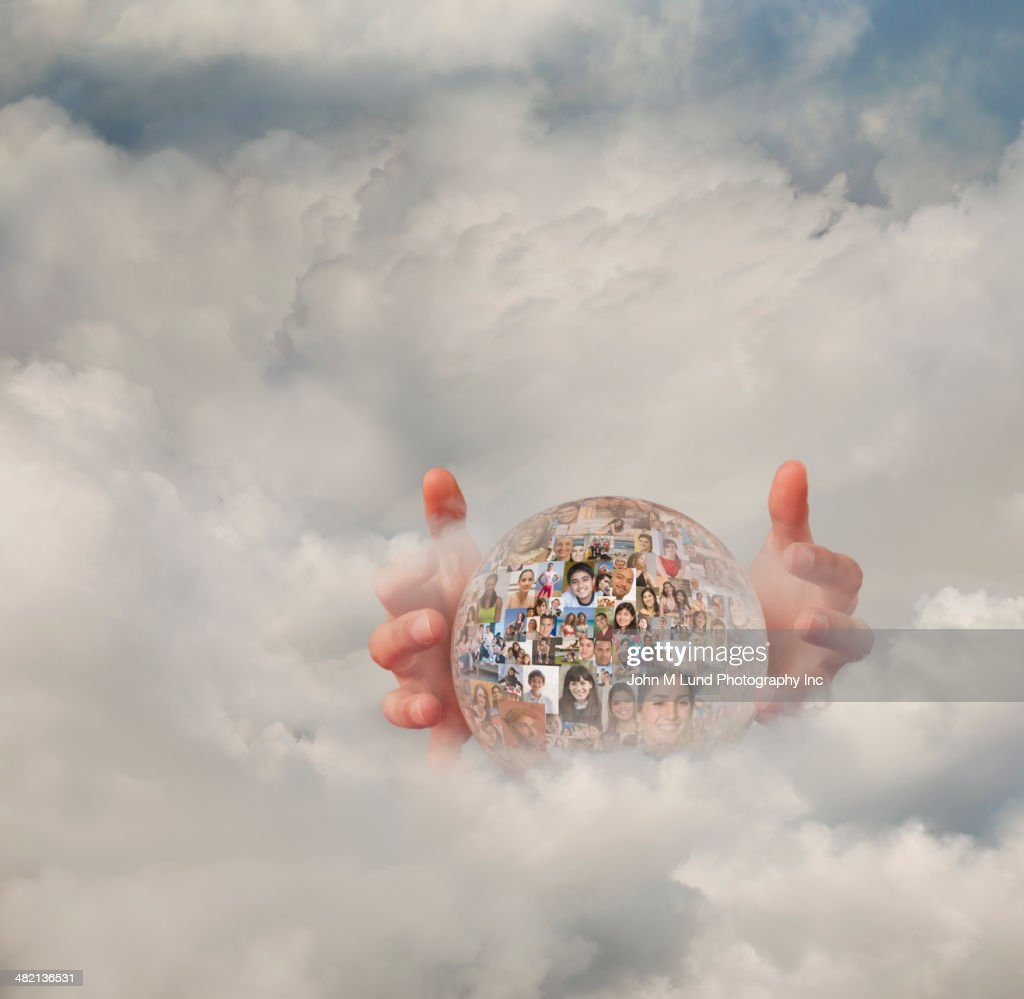 Collage of business people's faces in crystal ball in clouds : Stock Photo