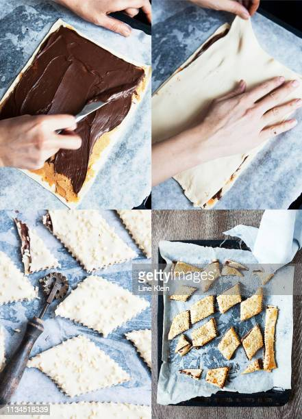 collage of chocolate sandwich cookies - klein stock pictures, royalty-free photos & images