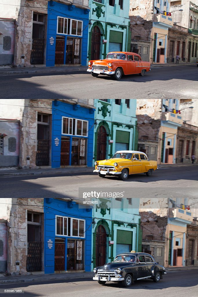 Collage of classic cars in a typical street in Cuba : Stock Photo