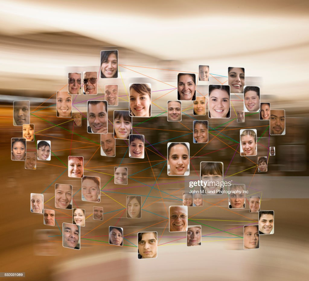 Collage of connected business people : Stock Photo