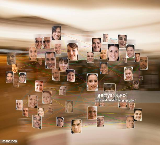 Collage of connected business people