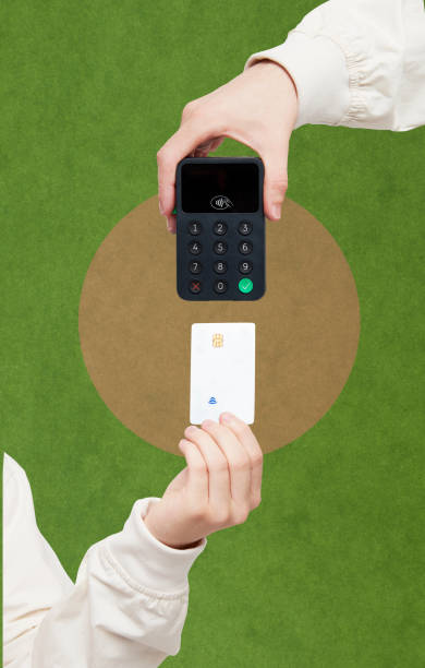 Collage of digital payment using a debit card and card reader