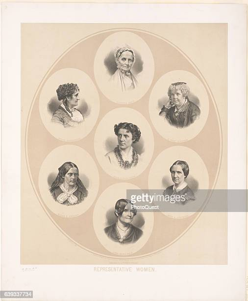 Collage of engraved portraits of seven leaders of the women's rights movement Boston Massachusetts 1870 Pictured are Lucretia Mott Grace Greenwood...