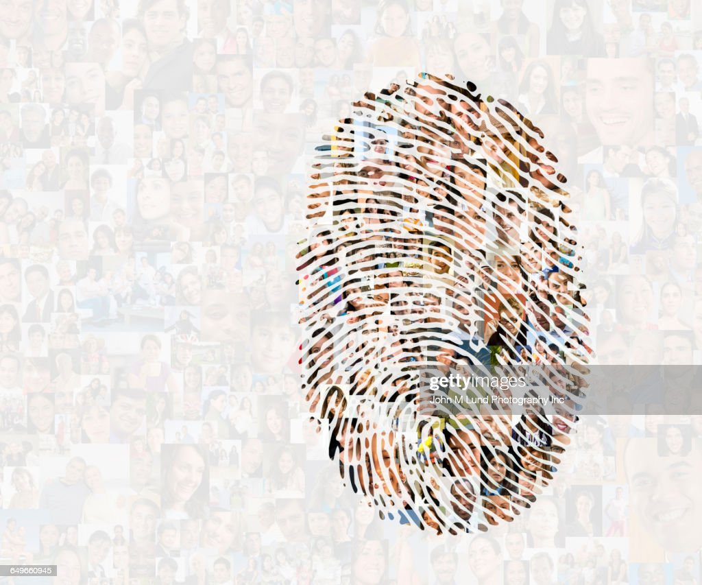 Collage of faces in fingerprint : Stock Photo
