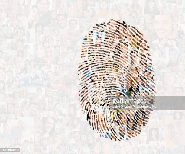 collage of faces in fingerprint - identity stock photos and pictures