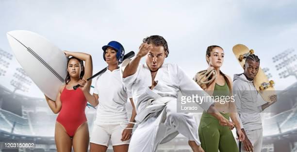 5人のオリンピアンテストスポーツ選手のコラージュ - オリンピック選手 ストックフォトと画像